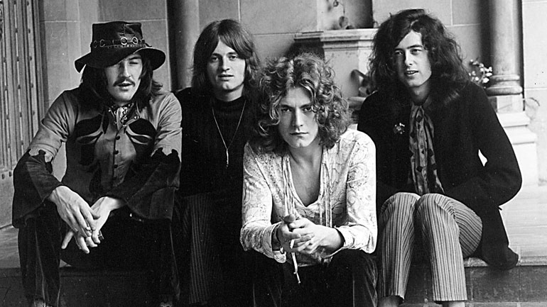 Led Zeppelin (from r. to l. Jimmy Page, Robert Plant, John Paul Jones, and the late John Bonham
