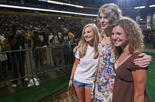 Taylor Swift at a marathon meet and greet for fans