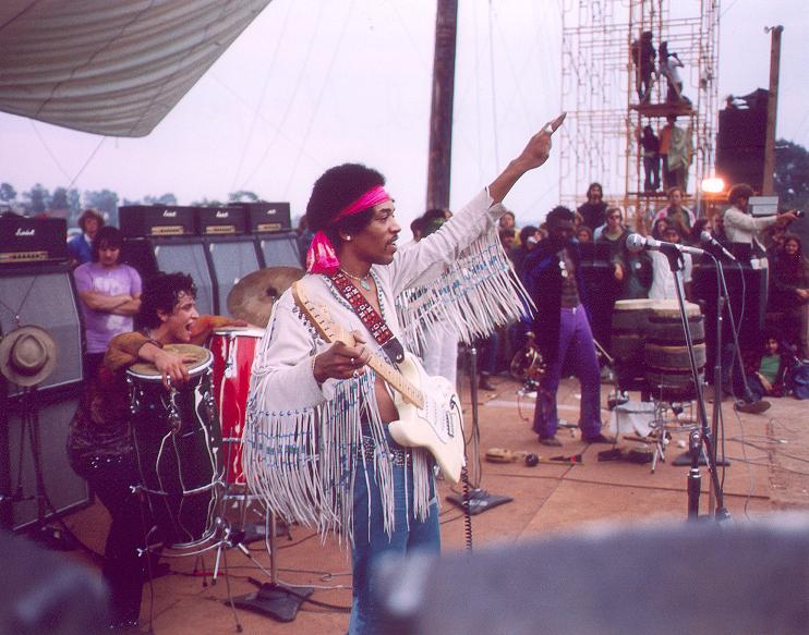 Jimi Hendrix performing at Woodstock